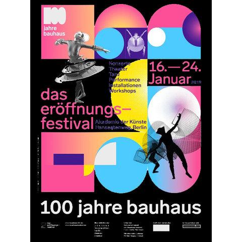 poster 100 jahre bauhaus - eröffnungsfestival | schwarz