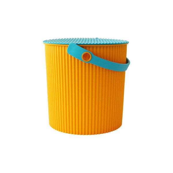 omnioutil eimer   orange mit deckel und griff in türkis, 10 l