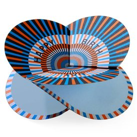 faltmanufakt faltkarte | optical orange|blau, happy birthday