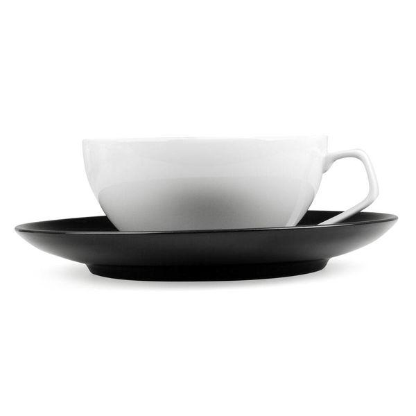 rosenthal tac tasse weiß mit untertasse 2 stück | schwarz – design walter gropius
