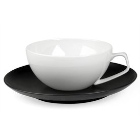 rosenthal tac schwarz | tasse weiß mit untertasse schwarz, 2 stück