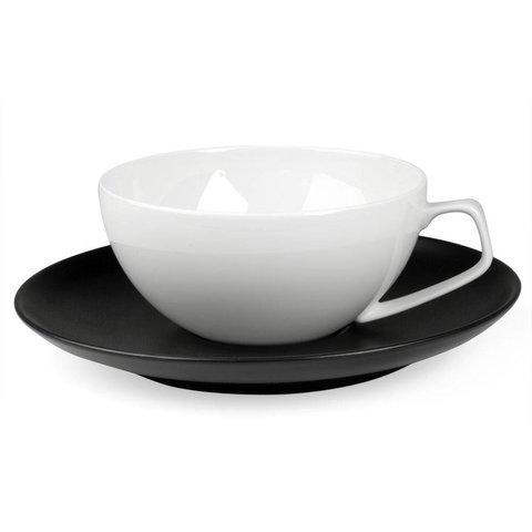 tac schwarz | tasse weiß mit untertasse schwarz, 2 stück