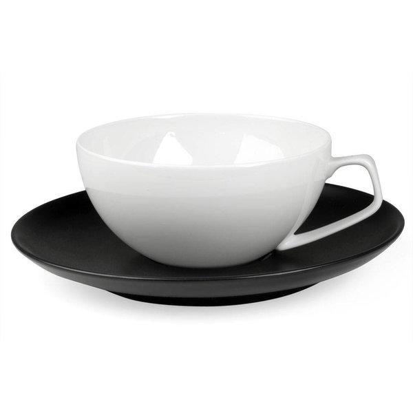 rosenthal tac schwarz | tasse weiß mit untertasse schwarz, 2 stück  – design walter gropius + katherine de sousa