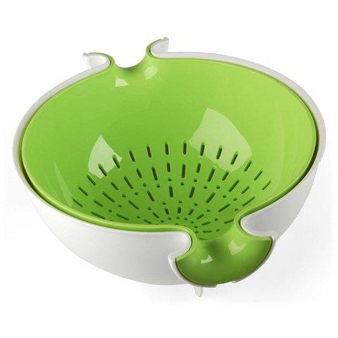 sieb mit schüsssel spin&drain | weiss-grün