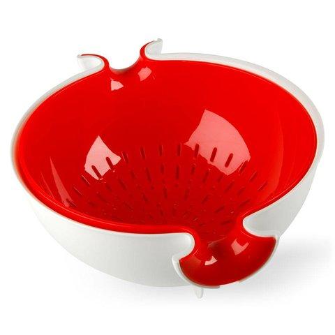 sieb mit schüssel spin&drain | weiss-rot