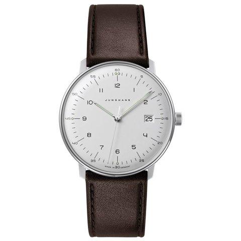 armbanduhr max bill | ø 38 mm, quarzuhrwerk, zahlenblatt weiss