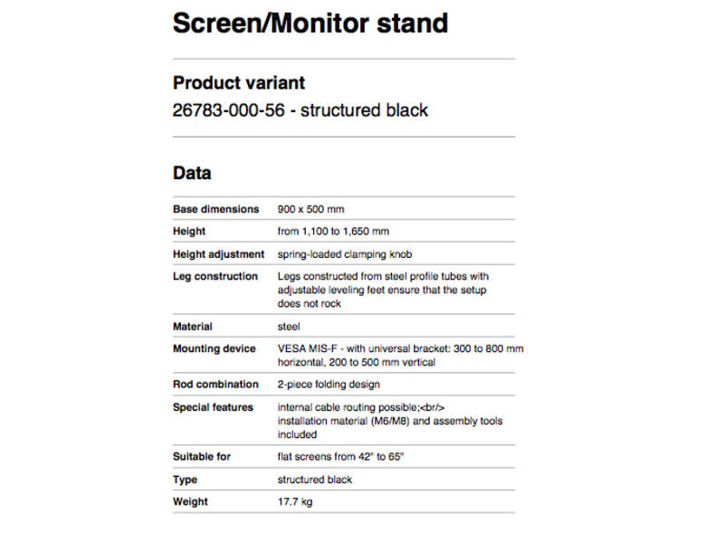 K̦nig & Meyer Screen/Monitor stand structured black
