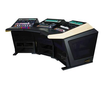 Sterling modular Plan C - Audio Mastering Console with thermafoil silver sides and vinyl desktop