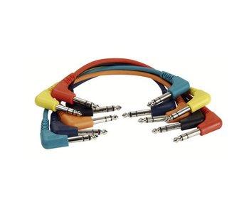 DAP Audio Patchkabel 90cm Gebalanceerd  -  Connectoren Haaks Zes Kleuren Set