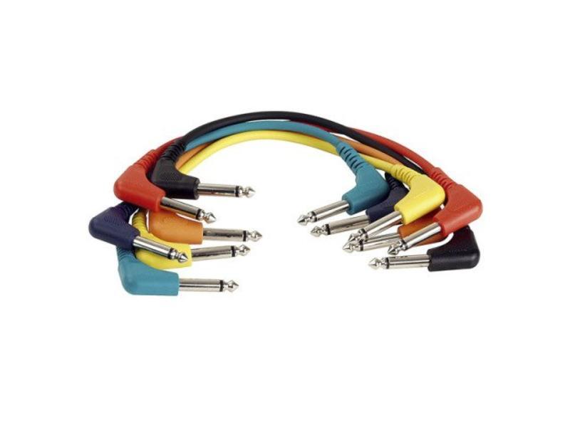 DAP Audio Patchkabel 60cm Ongebelanceerd  - Connectoren Haaks Zes Kleuren Set