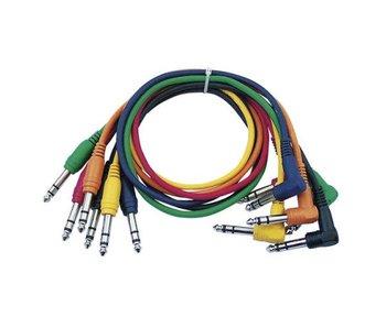 DAP Audio Patchkabel 90cm Gebalanceerd   -  Connectoren Recht en Haaks Zes Kleuren Set