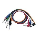 DAP Audio Patchkabel 60cm Ongebelanceerd  - Connectoren Recht en Haaks Zes Kleuren Set