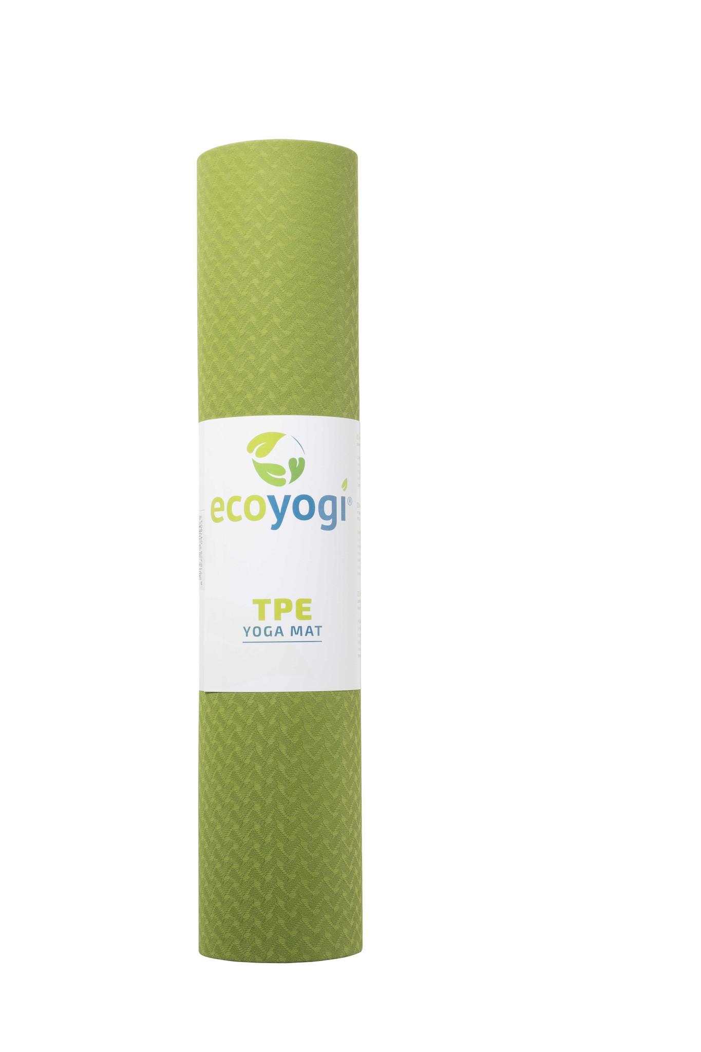 Wonderbaar Ecoyogi TPE Yoga mat Groen/zwart - 6 mm - 2Essence - Yogamat IP-55