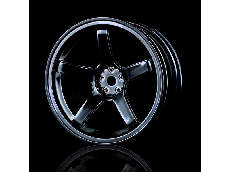 MST 5 Spokes Wheel (4pcs) / Color: Silver Black (Dark Chrome)