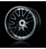 MST 10 Spokes 2 Ribs Wheel (4pcs) / Color: Silver Black (Dark Chrome)