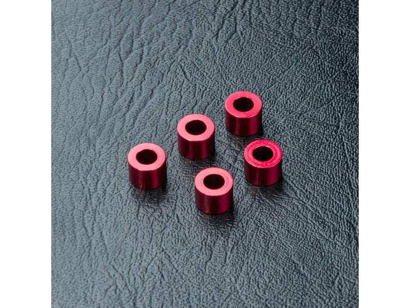 MST Aluminium Spacer φ3.0mm x φ5.5mm x 4.0mm (5pcs) / Color: Red