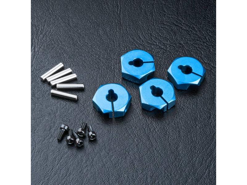 MST Aluminium Hex Wheels Hubs 4mm (4pcs) / Color: Blue