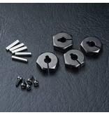 MST Aluminium Hex Wheels Hubs 4mm (4pcs) / Color: Black