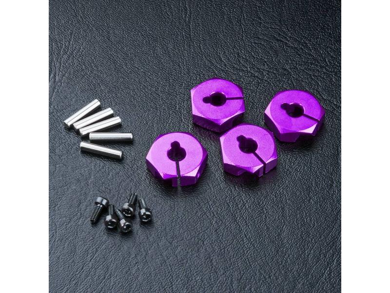 MST Aluminium Hex Wheels Hubs 4mm (4pcs) / Color: Purple