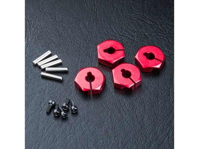 MST Aluminium Hex Wheels Hubs 4mm (4pcs) / Color: Red