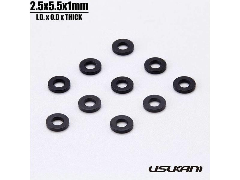 Usukani US88135 - Aluminium Spacer φ2.5mm x φ5.5mm x 1.0mm - Black (10pcs)