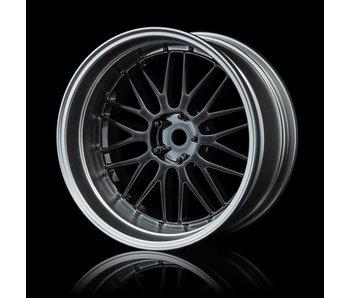 MST LM Wheel Set - Adj. Offset (4) / Silver Black-Flat Silver