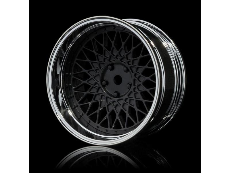 MST 501 Wheel Set - Adjustable Offset (4pcs) / Color: Flat Black - Silver (Chrome)