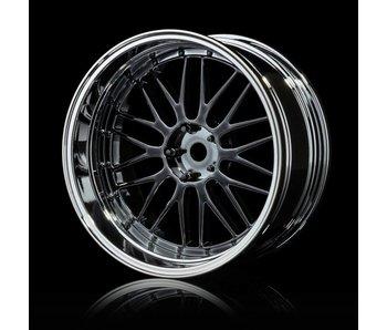 MST LM Wheel Set - Adj. Offset (4) / Flat Black-Flat Silver