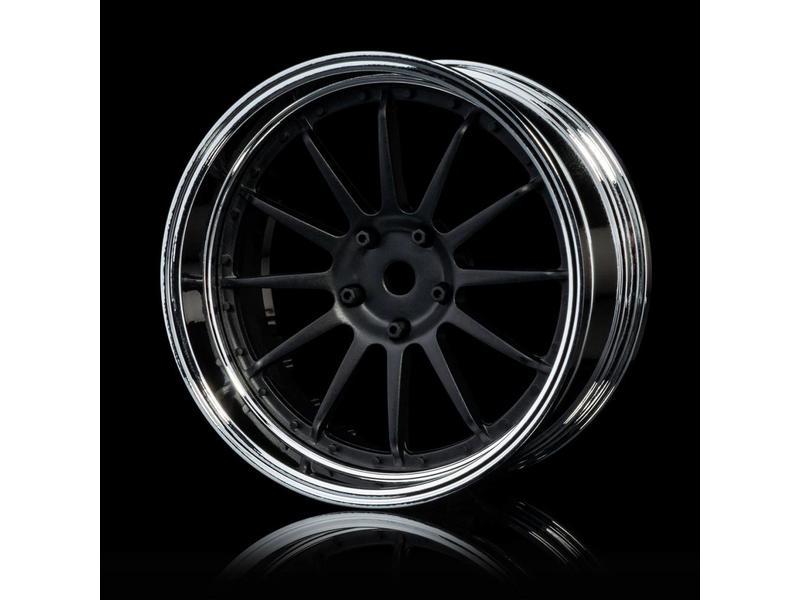 MST 21 Wheel Set - Adjustable Offset (4pcs) / Color: Flat Black - Silver (Chrome)