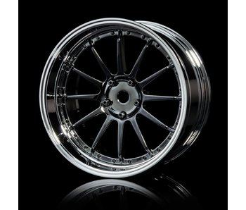 MST 21 Wheel Set - Adj. Offset (4) / Silver Black-Silver
