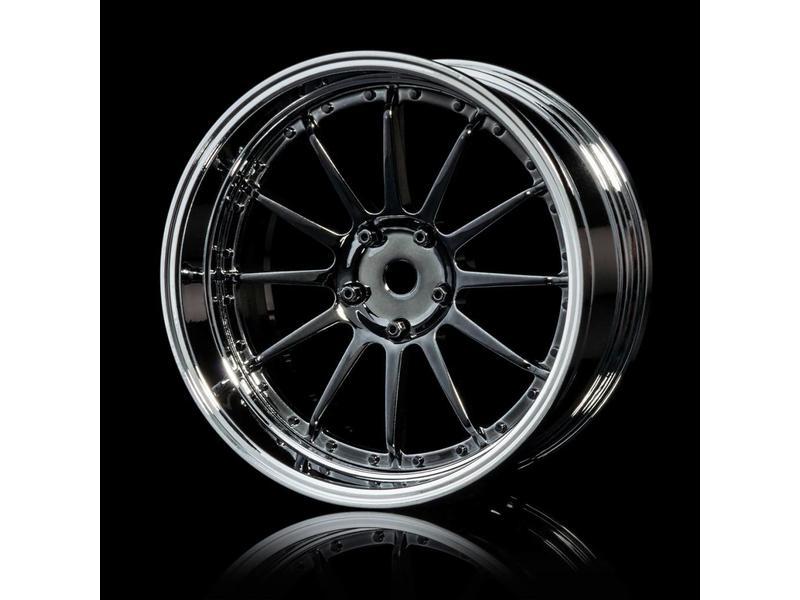 MST 21 Wheel Set - Adjustable Offset (4pcs) / Color: Silver Black (Dark Chrome) - Silver (Chrome)
