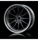 MST 21 Wheel Set - Adjustable Offset (4pcs) / Color: Silver Black (Dark Chrome) - Flat Silver