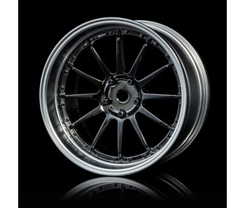 MST 21 Wheel Set - Adj. Offset (4) / Silver Black-Flat Silver