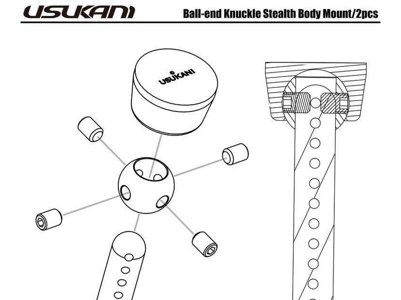 Usukani US88179 - Ball End Knuckle Stealth Body Mount (2pcs)
