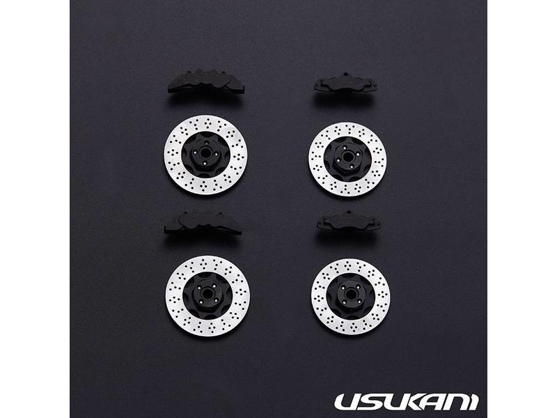 Usukani US88189-BK - Aluminium Brake Disk & Calipers Combo (4pcs) - Black