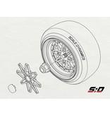 Scale Dynamics 10114 - V16D Work Equip 01 with Faces & Center Caps - Aluminum Silver - 12mm Offset (2pcs)