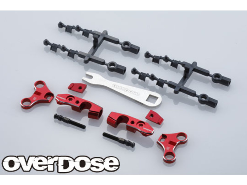 Overdose Adjustable Aluminum Front Upper Arm Set for OD / Color: Red