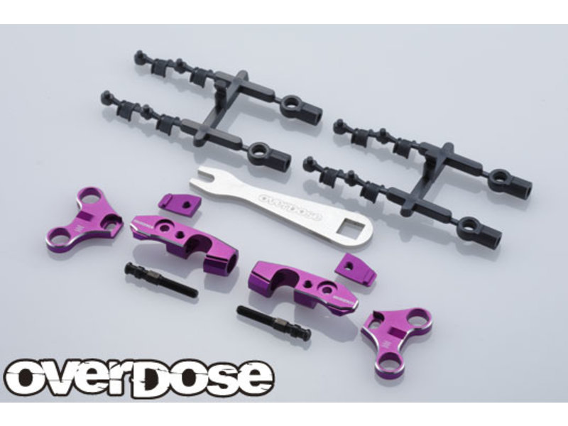 Overdose Adjustable Aluminum Front Upper Arm Set for OD / Color: Purple