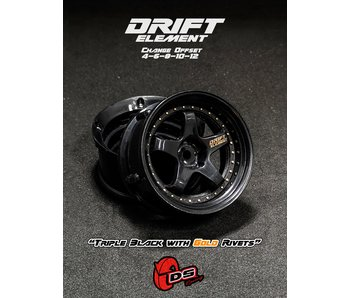 DS Racing Drift Element Wheel - Adj. Offset (2) / Triple Black with Gold Rivets