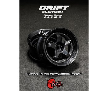 DS Racing Drift Element Wheel - Adj. Offset (2) / Triple Black with Silver Rivets