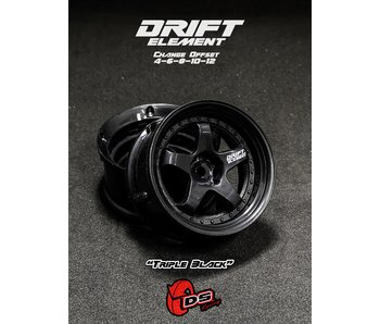 DS Racing Drift Element Wheel - Adj. Offset (2) / Triple Black