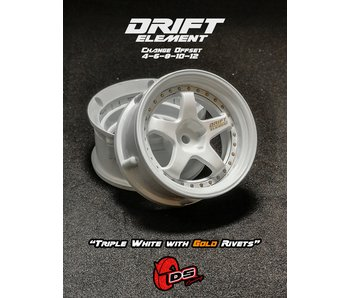 DS Racing Drift Element Wheel - Adj. Offset (2) / Triple White with Gold Rivets