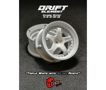 DS Racing Drift Element Wheel - Adj. Offset (2) / Triple White with Silver Rivets