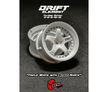DS Racing Drift Element Wheel - Adj. Offset (2) / Triple White with Black Rivets