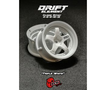 DS Racing Drift Element Wheel - Adj. Offset (2) / Triple White