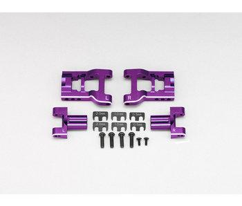Yokomo Aluminum Adjustable Rear Short H-Arm Set - Purple - DISCONTINUED
