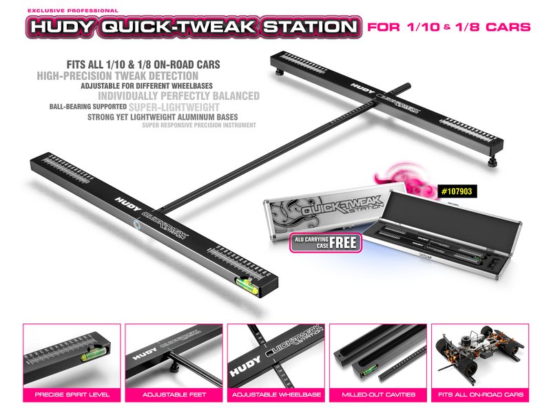 Hudy H107903 - Quick Tweak Station for 1/8 & 1/10 On-Road