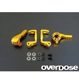 Overdose Aluminium C-Hub & Upright Set 8-8 for Tamiya / Color: Gold