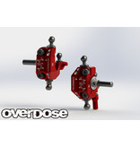 Overdose Adjustable Aluminium Knuckle Set Type-2 for RWD / Color: Red