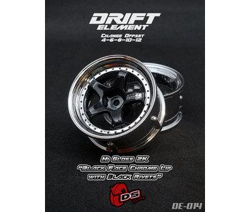 DS Racing Drift Element Wheel - Adj. Offset (2) / Hi Gross 2K Black Face Chrome Lip with Black Rivets